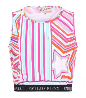 3d736164eb29 EMILIO PUCCI JUNIOR Multicolor girl top with white logo ...