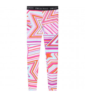 Colorful leggings for girl with white logo