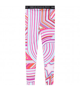 Colorful girl leggings with white logo