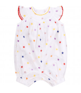 STELLA MCCARTNEY KIDS White babygirl babygrow with colorful stars