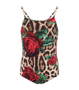 DOLCE & GABBANA KIDS Animalier print girl swimsuit