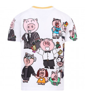 DOLCE & GABBANA KIDS White kids T-shirt with colorful pigs
