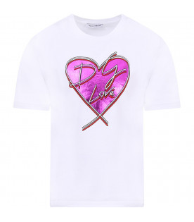 DOLCE & GABBANA KIDS White girl T-shirt with logo and purple heart