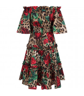 DOLCE & GABBANA KIDS Animalier printe girl dress with red roses
