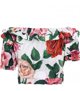 DOLCE & GABBANA KIDS White girl top with colorful roses