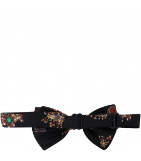DOLCE & GABBANA KIDS Black boy bow-tie with colorful crowns