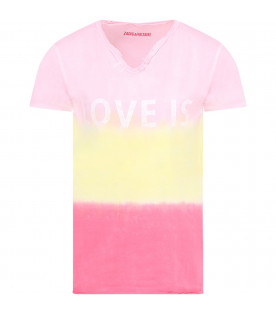 ZADIG & VOLTAIRE KIDS Colorful girl T-shirt with white writing