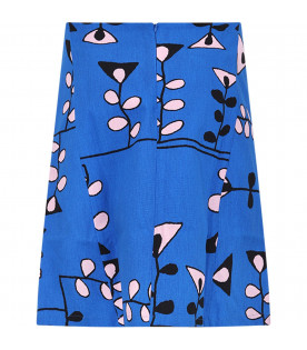 MARNI KIDS Royal blue girl skirt with pink and black prints