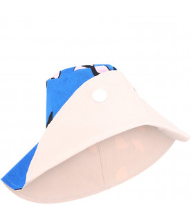 MARNI KIDS Royal blue girl hat with pink and black prints