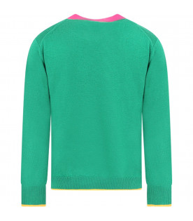 MARNI KIDS Green girl sweater with colorful details