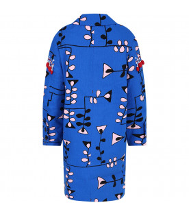 MARNI KIDS Royal blue girl jacket with pearls and sequins