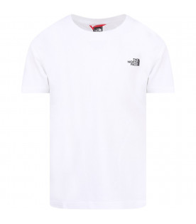 THE NORTH FACE KIDS T-shirt bianca per bambini con logo nero