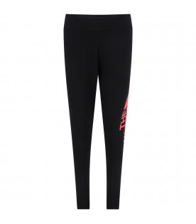 THE NORTH FACE KIDS Black girl leggings with coral logo