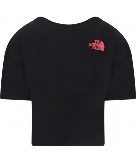THE NORTH FACE KIDS Black girl T-shirt with coral logo