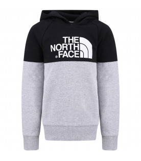 THE NORTH FACE KIDS Black and grey boy sweatshirt with white logo