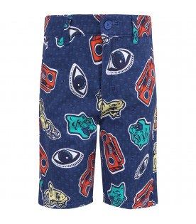 KENZO KIDS Blue boy short with colorful iconic prints