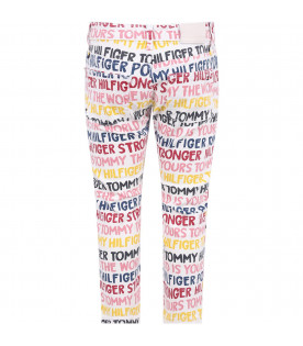 TOMMY HILFIGER JUNIOR White girl jeans with colorful all-over logo