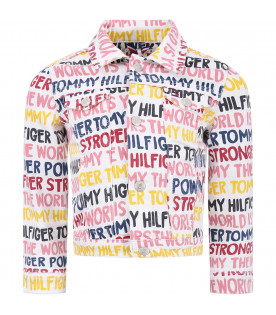 TOMMY HILFIGER JUNIOR White girl jacket with colorful all-over logo