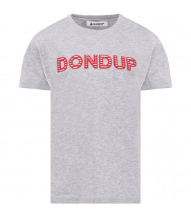 DONDUP KIDS Grey girl T-shirt with red and wite logo