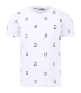 DONDUP KIDS White boy T-shirt with blue all-over logo