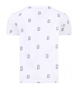 DONDUP KIDS T-shirt bianca per bambino con logo blu all-over