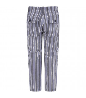 Blue, white and light blue striped boy pants with iconic D