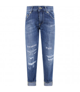Light blue boy jeans with white writing and iconic metallic D