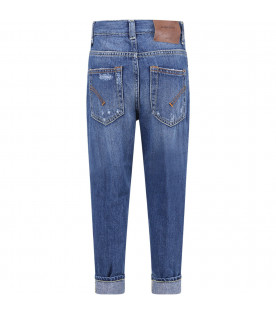 DONDUP KIDS Light blue boy jeans with white writing and iconic metallic D