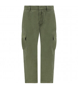 Green boy pants with iconic metallic D