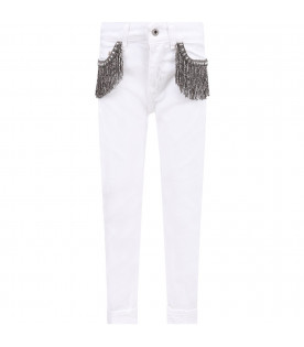 White ''Monroe'' girl jeans with iconic D and silver fringes