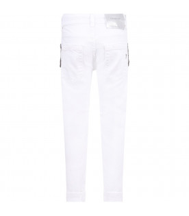 DONDUP KIDS White ''Monroe'' girl jeans with iconic D and silver fringes
