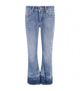 DONDUP KIDS Light blue '' Neon'' girl jeans with iconic D