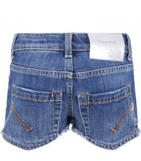 DONDUP KIDS Light blue ''Jude'' girl short with iconic D