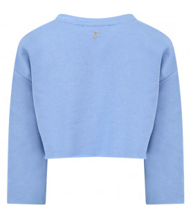 DONDUP KIDS Light blue girl sweatshirt with logo