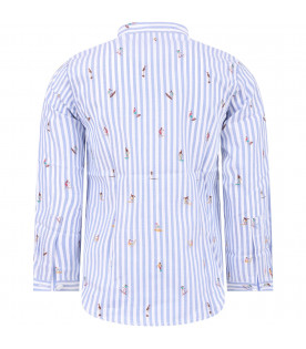 DONDUP KIDS White and light blue striped boy shirt with colorful embroidery