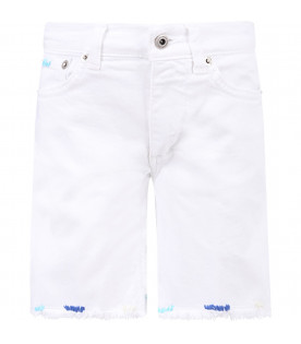 DONDUP KIDS White ''Holly'' boy short with iconic D and colorful details