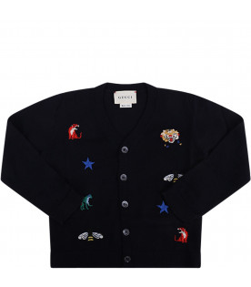GUCCI KIDS Blue babyboy cardigan with colorful iconic logos