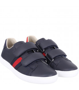 GUCCI KIDS Blue kids sneakers with red and blue detils Web