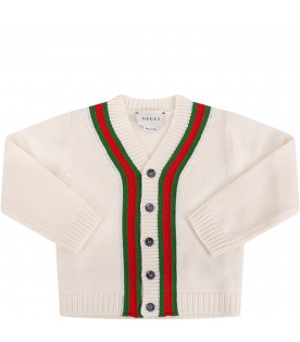 fa486f57 GUCCI KIDS Ivory babyboy cardigan with red and green Web details ...