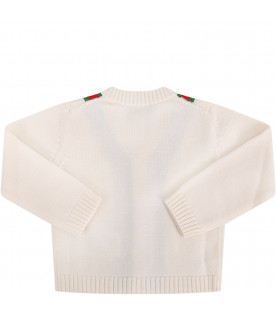 GUCCI KIDS Ivory babyboy cardigan with red and green Web details