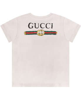 GUCCI KIDS Ivory babyboy T-shirt with colorful iconic snake and black logo