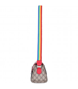 GUCCI KIDS Beige girl bag with blue and white logo