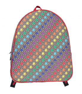 GUCCI KIDS Beige girl backpack with colorful all-over stars