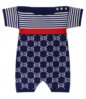 GUCCI KIDS Blue and white babyboy babygrow with white all-over double GG