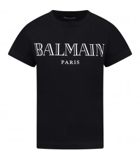 BALMAIN KIDS Black girl T-shirt with white logo