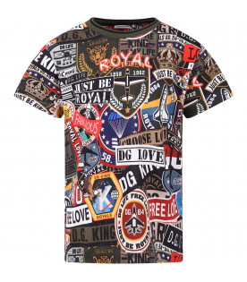 DOLCE & GABBANA KIDS Colorful boy T-shirt with all-over logo and prints