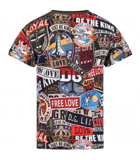 DOLCE & GABBANA KIDS T-shirt colorata per bambino con logo e stampe all-over