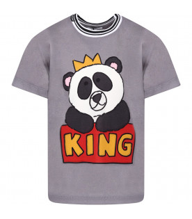 DOLCE & GABBANA KIDS Grey boy T-shirt with balck and white panda