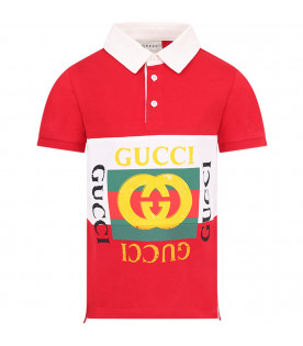 GUCCI KIDS Red boy polo shirt with colorful vintage logo