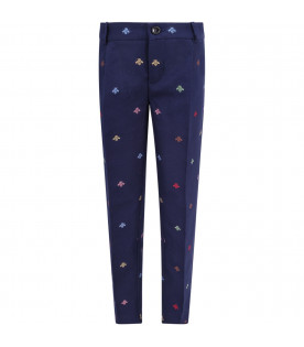 GUCCI KIDS Pantaloni blu per bambino con iconiche api colorate all-over